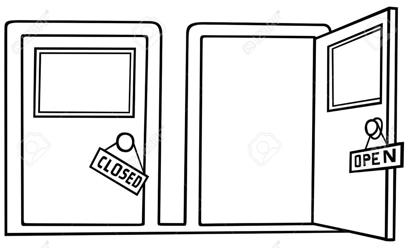 open door clipart black and white. Door Open And Close - Black White Cartoon Illustration, Vector Stock 8756075 Clipart 123RF.com