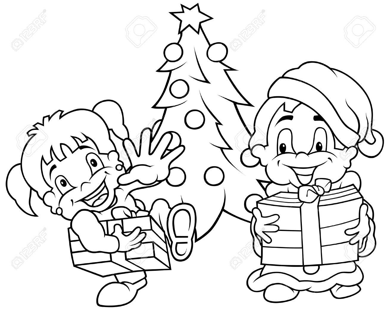 Navidad De Los Niños Ilustración De Dibujos Animados De Blanco Y Negro Vector