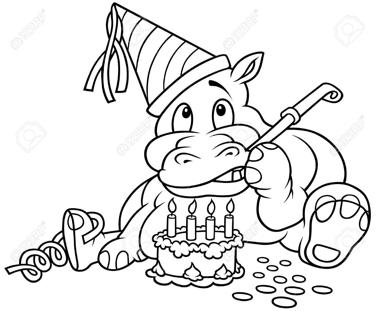 Hippo Und Kuchen - Schwarz Und Weiß Karikatur Illustration, Vektor ...