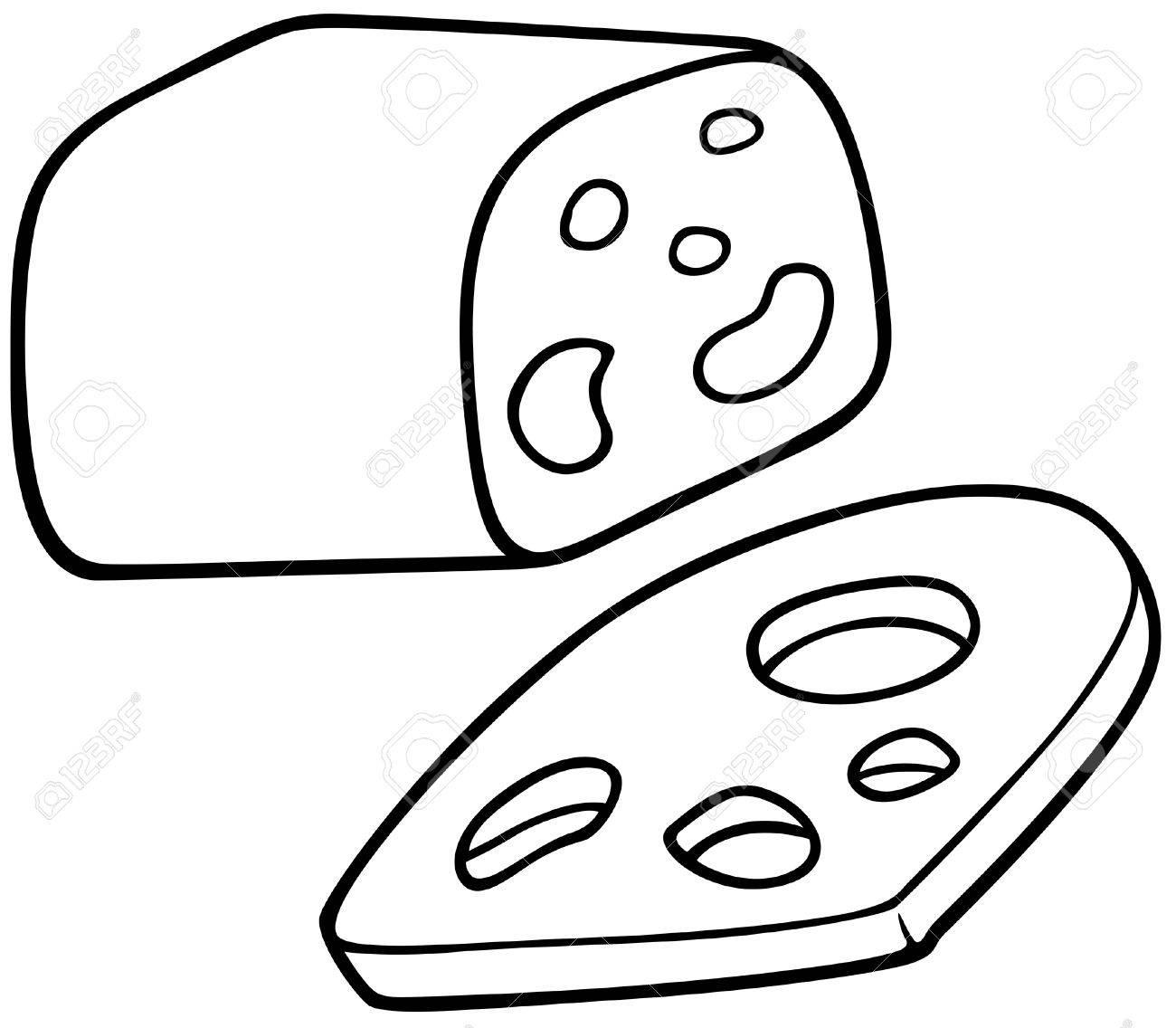 Käse clipart schwarz weiß  Eidamer Käse - Schwarz Und Weiß Karikatur Illustration, Vektor ...
