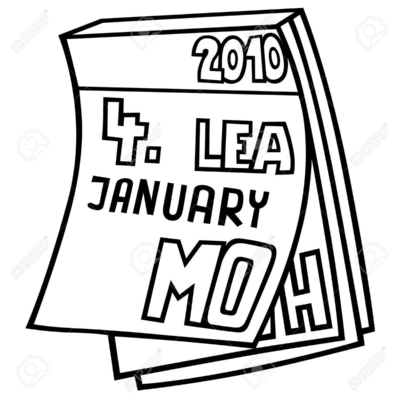 Calendario Dibujo Blanco Y Negro.Tear Off Calendario Ilustracion De Dibujos Animados De Blanco Y Negro Vector