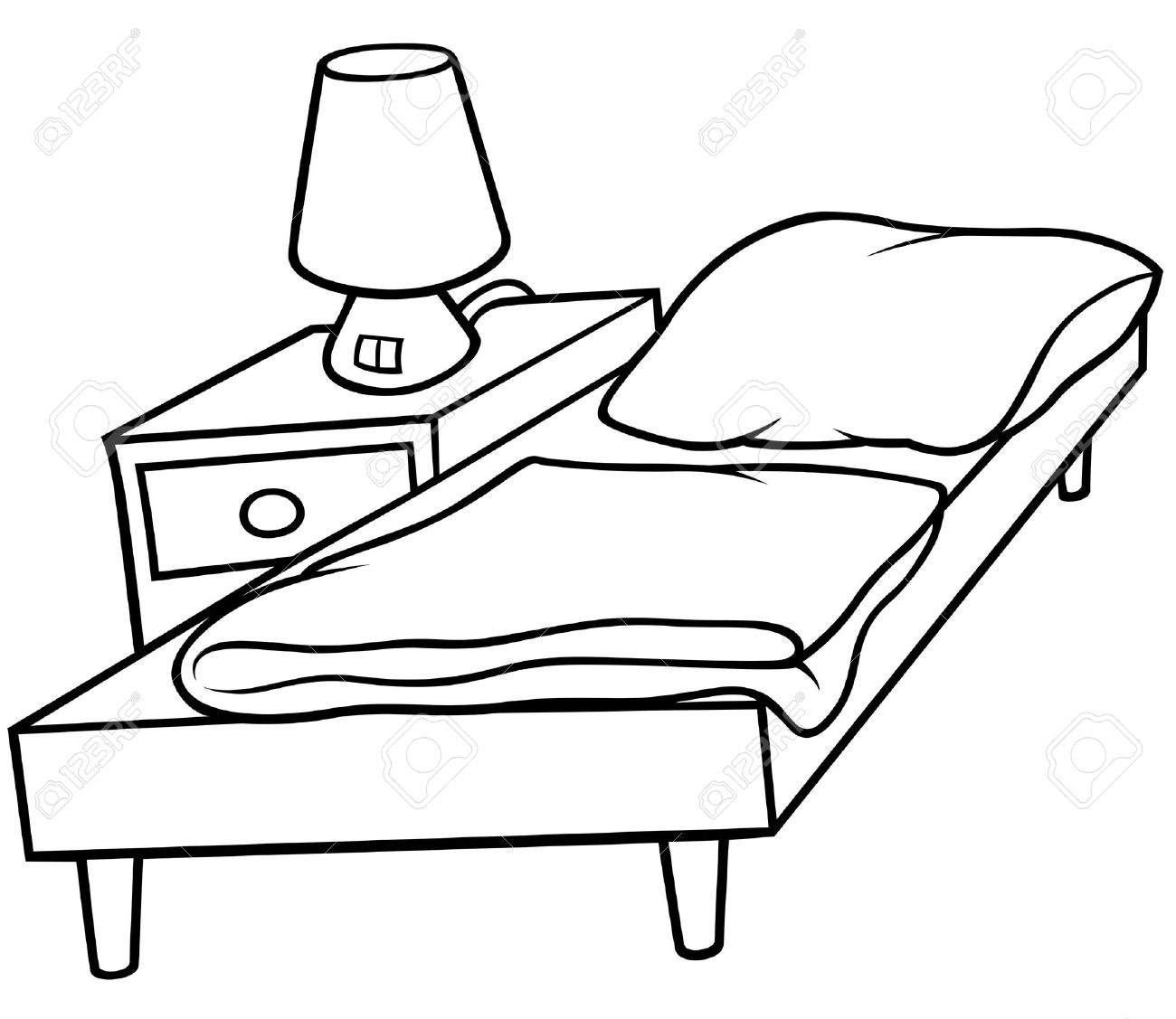 Bed and Bedside - Black and White Cartoon illustration, Vector Stock Vector - 8756116