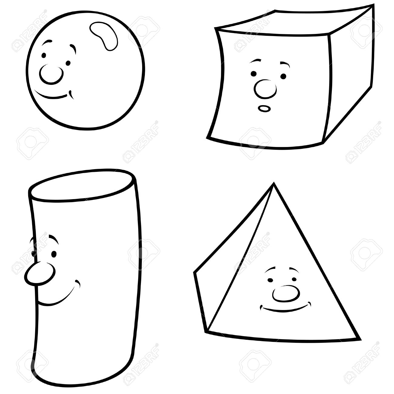 Geometric Shapes - Black And White Cartoon Illustration, Vector ...