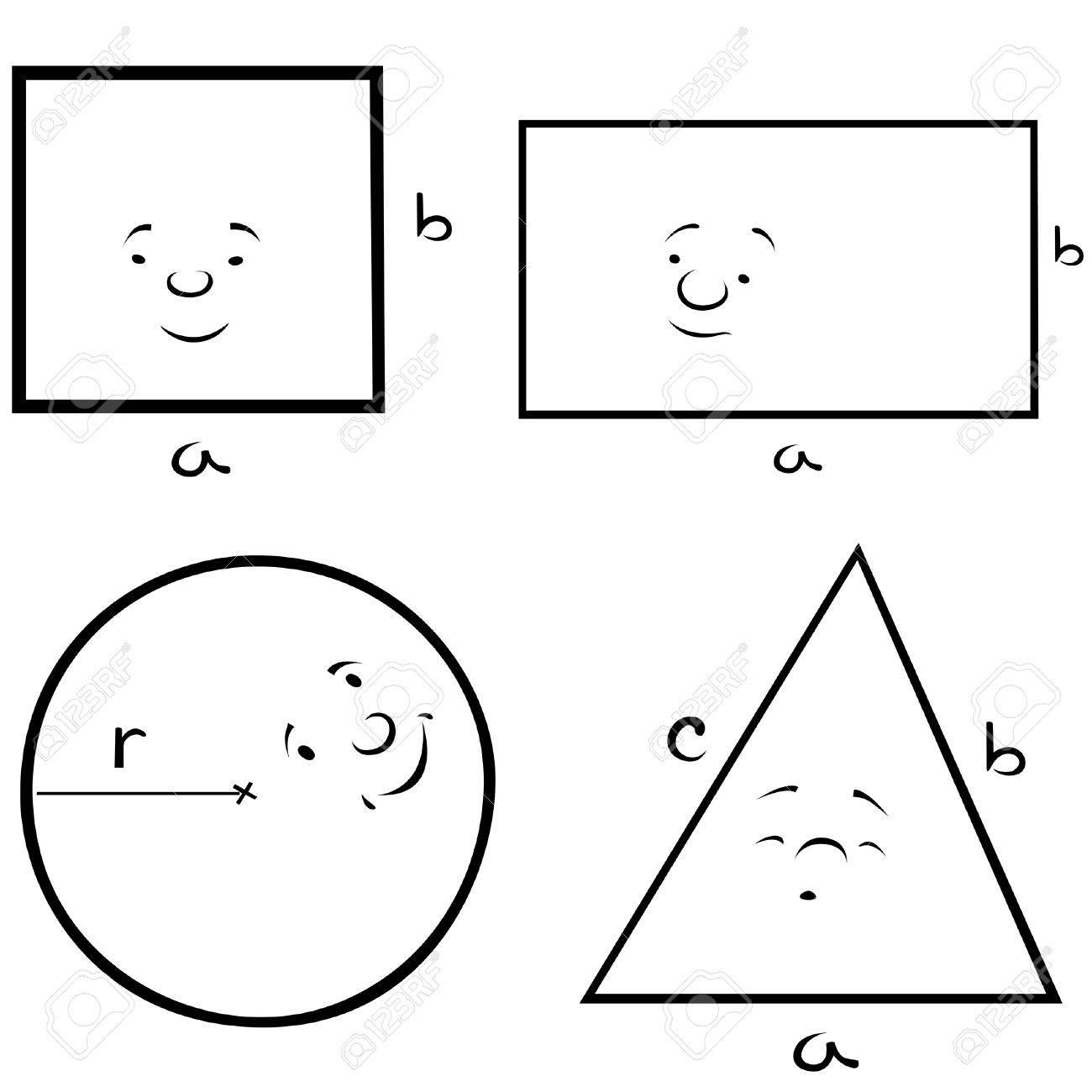 Geometric Shapes - Black and White Cartoon illustration, Vector Stock Vector - 8756225