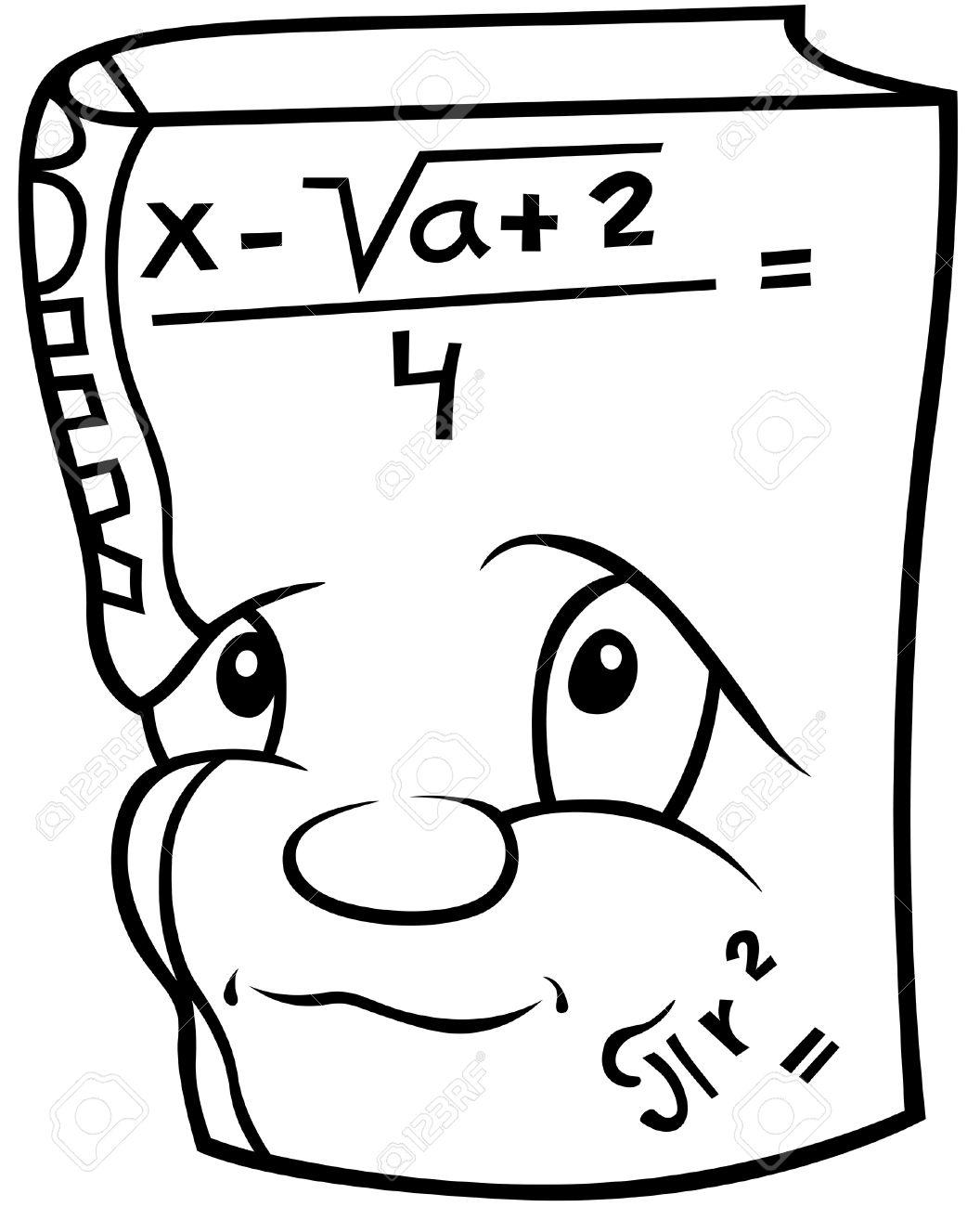 Libro De Matematicas Ilustracion De Dibujos Animados De Blanco Y