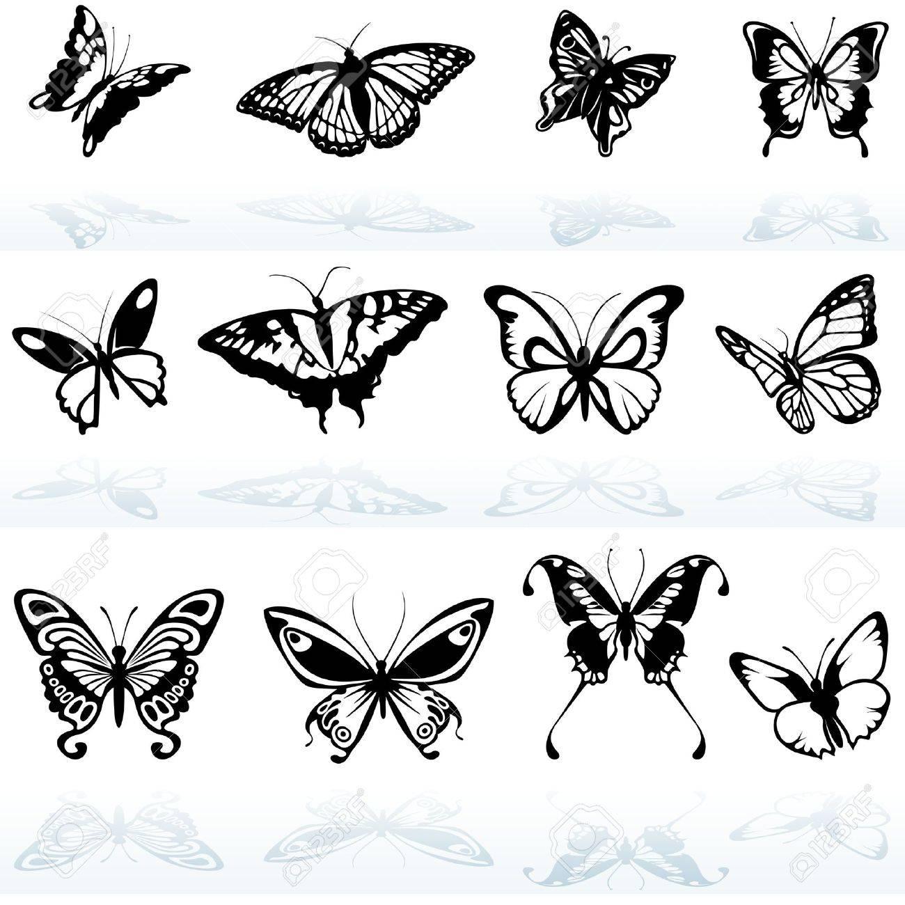 蝶のシルエット 色のイラストのイラスト素材ベクタ Image 8875077