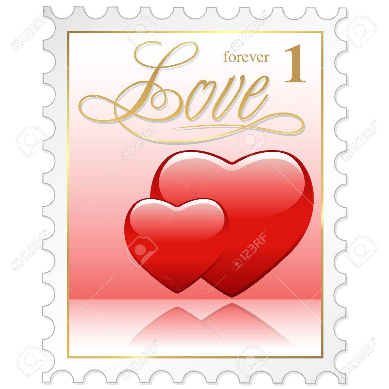 Love Stamp - colored illustration with heart Stock Vector - 8903846