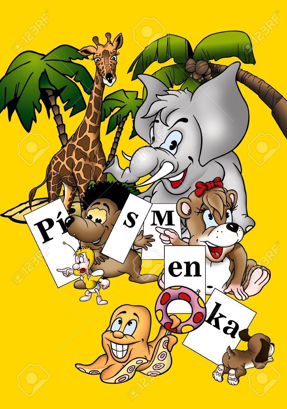 Animals and Letters - Cartoon Background Illustration, Bitmap Stock Illustration - 9687096