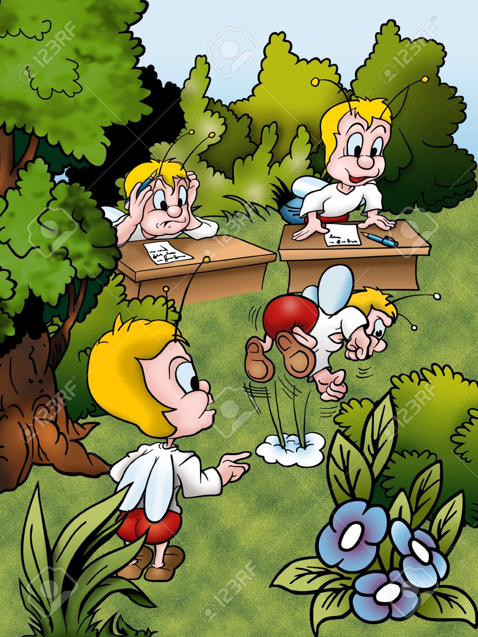 Empty cartoon classroom background - Classroom Cartoons Bugs Cartoon Background Illustration Bitmap Stock Photo