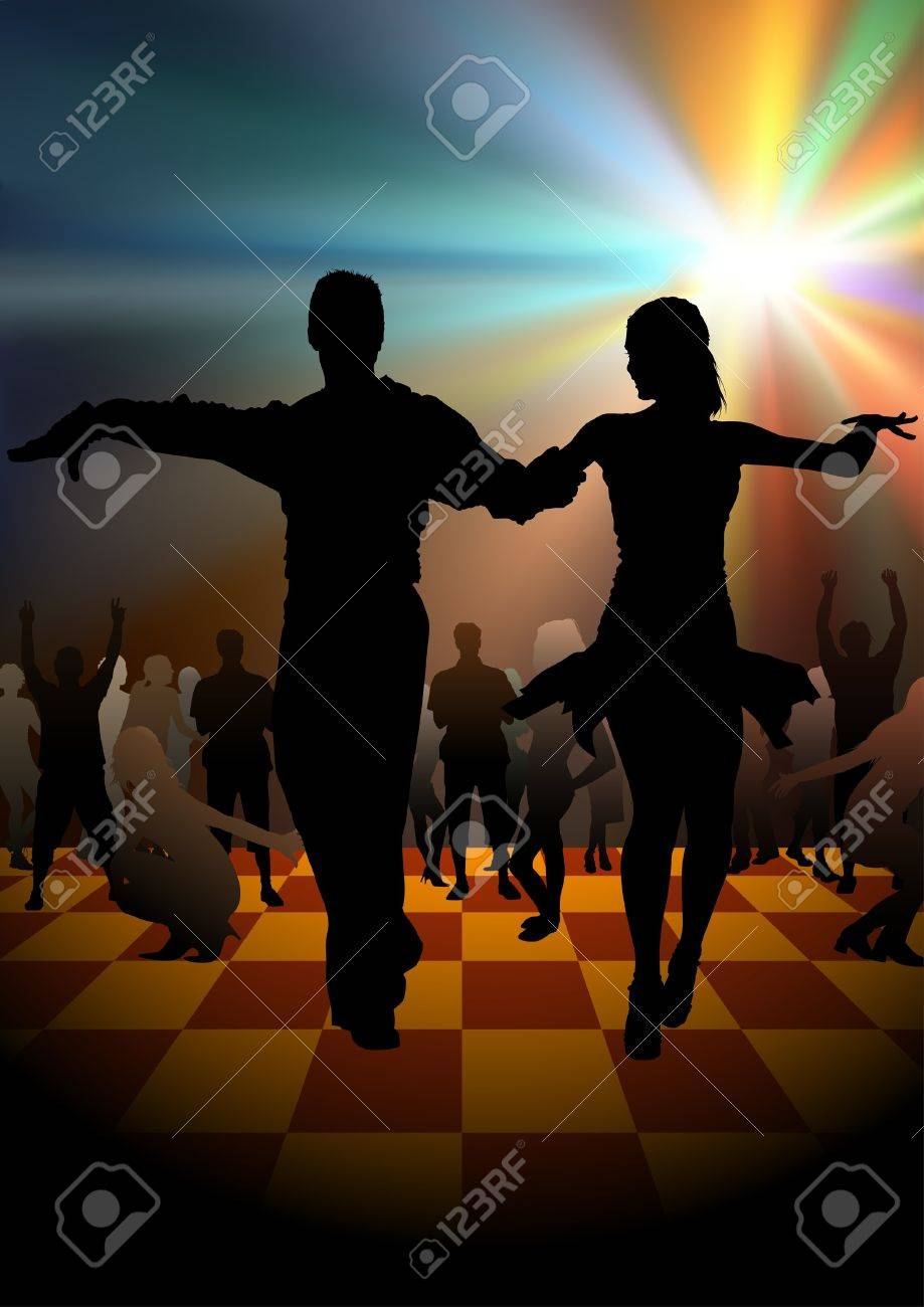 Dance Party - colored background illustration, vector Stock Vector - 9897246