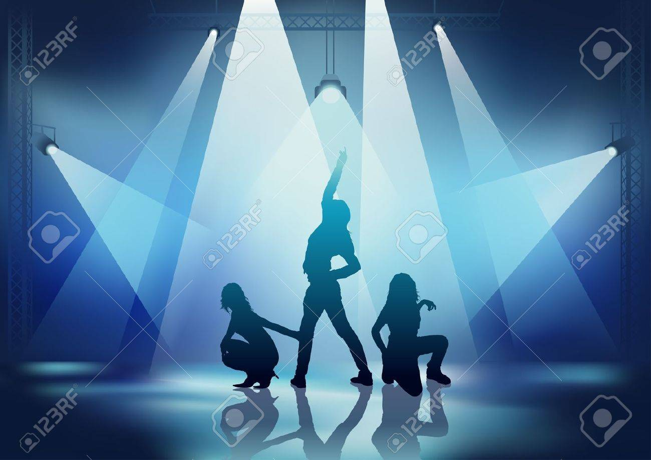 Dance Party - Showgirls and background illustration, vector Stock Vector - 9897249