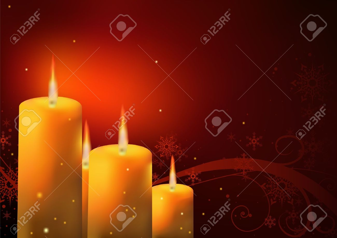 Christmas Background - Candles and Floral, illustration Stock Vector - 10474137