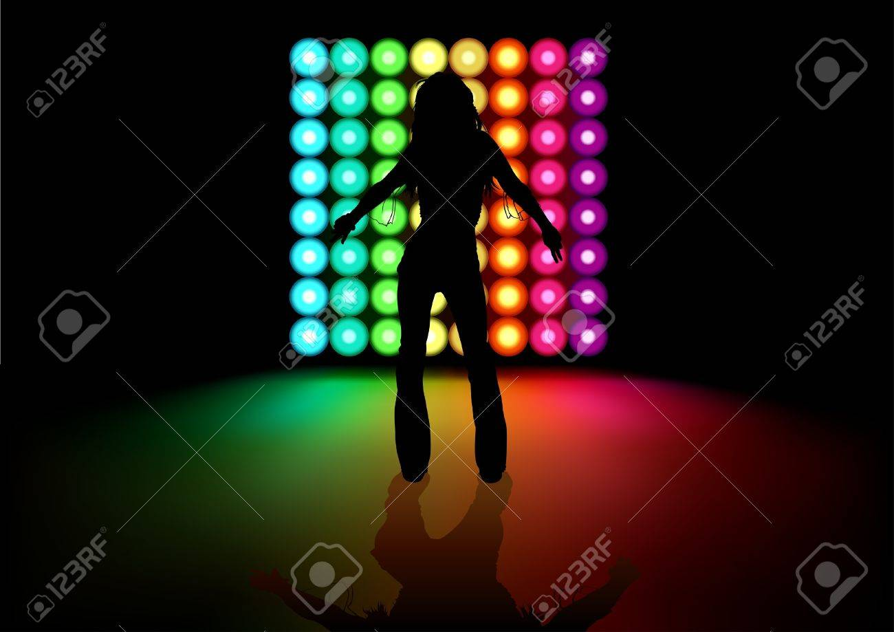 Dancing Girl and Light Effects - Background illustration Stock Vector - 10474140