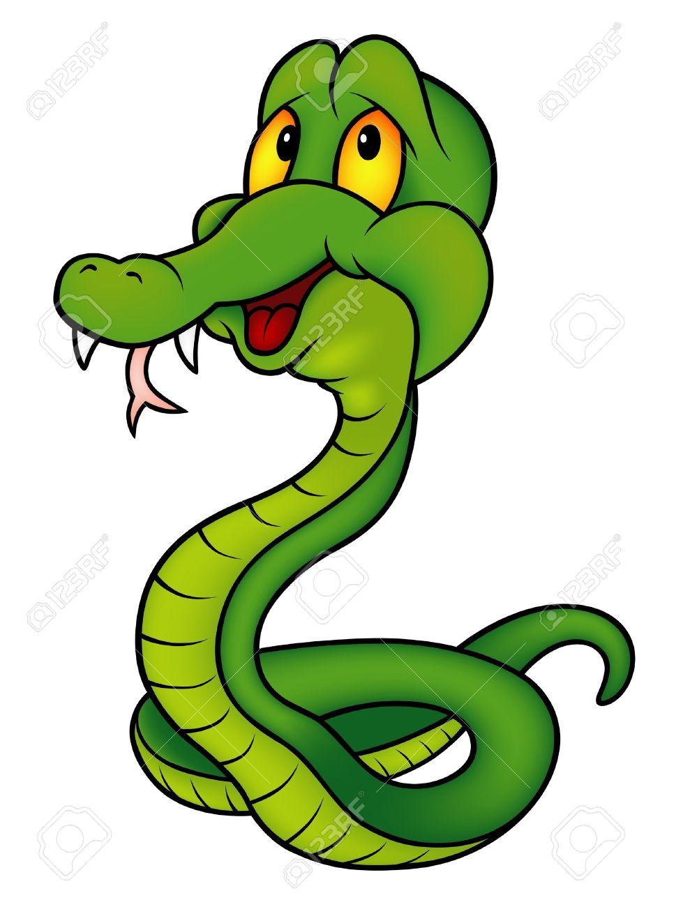 Verde Smiling Serpiente Ilustración De Color De Dibujos Animados