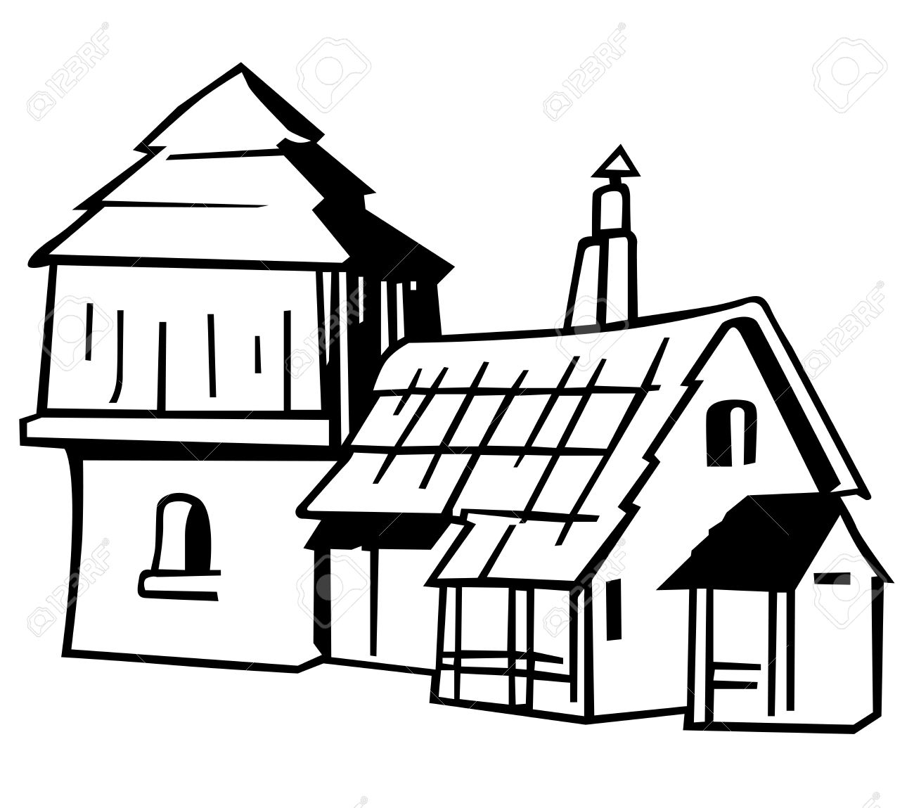 village house black and white cartoon illustration royalty free Black and White Cartoon Faces village house black and white cartoon illustration stock vector 12483338