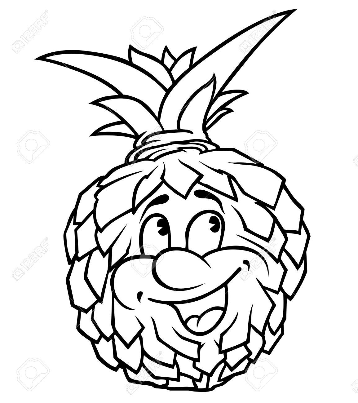 Pineapple - Black And White Cartoon Illustration, Royalty Free ... for Clipart Pineapple Black And White  75sfw
