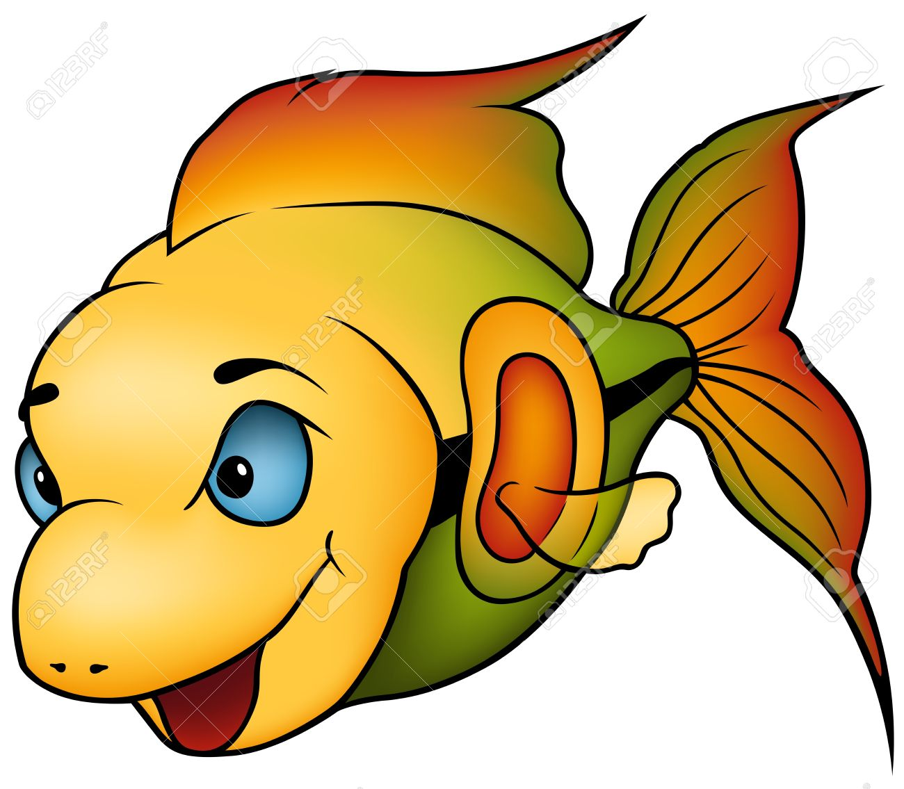 tropical fish colored cartoon illustration royalty free cliparts