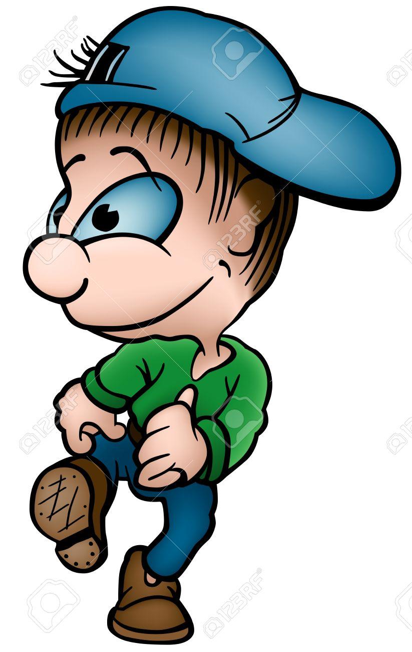 diseño de moda hacer un pedido nuevo estilo Niño con gorra azul - Ilustración de dibujos animados,