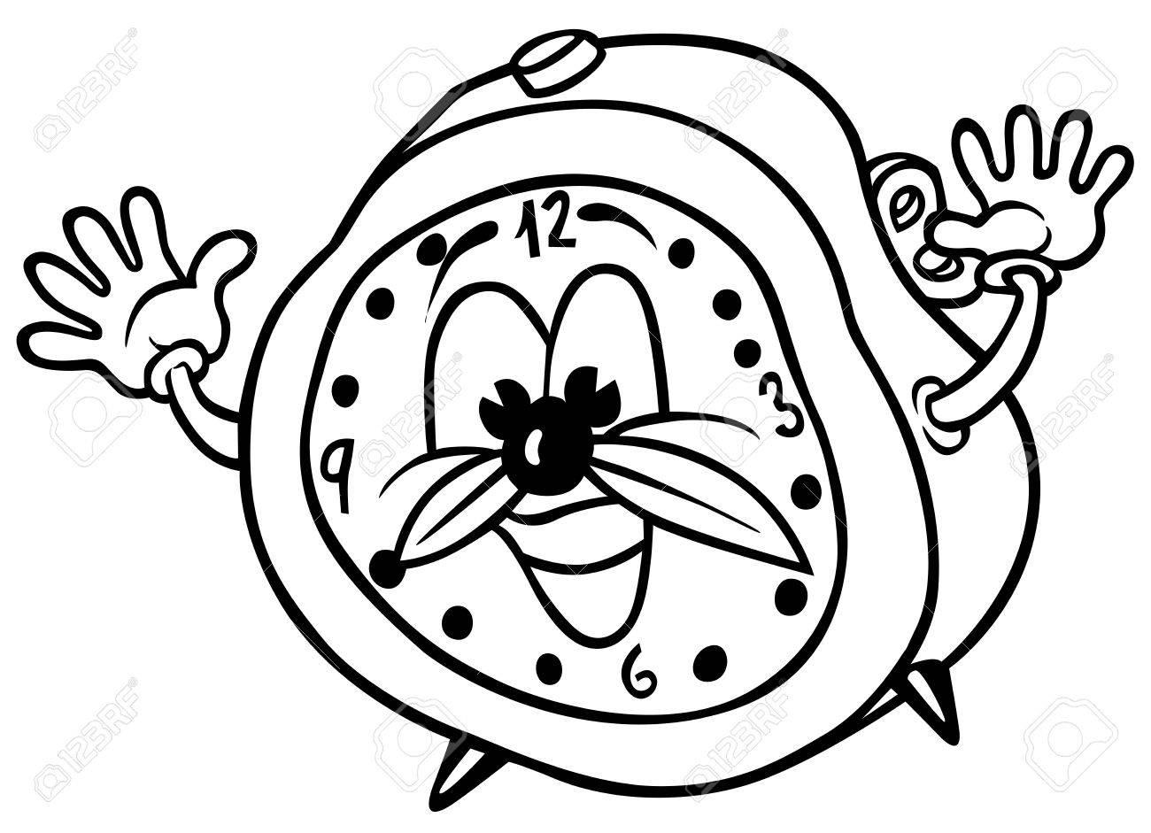 alarm clock black and white cartoon illustration royalty free rh 123rf com