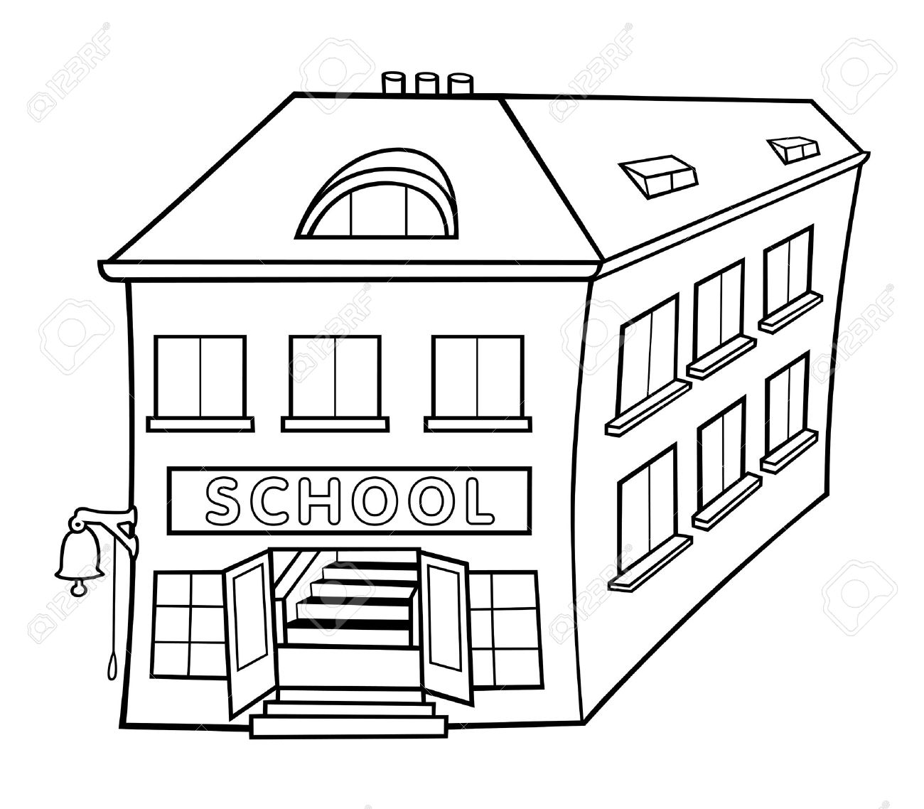 school - black and white cartoon illustration, royalty free cliparts