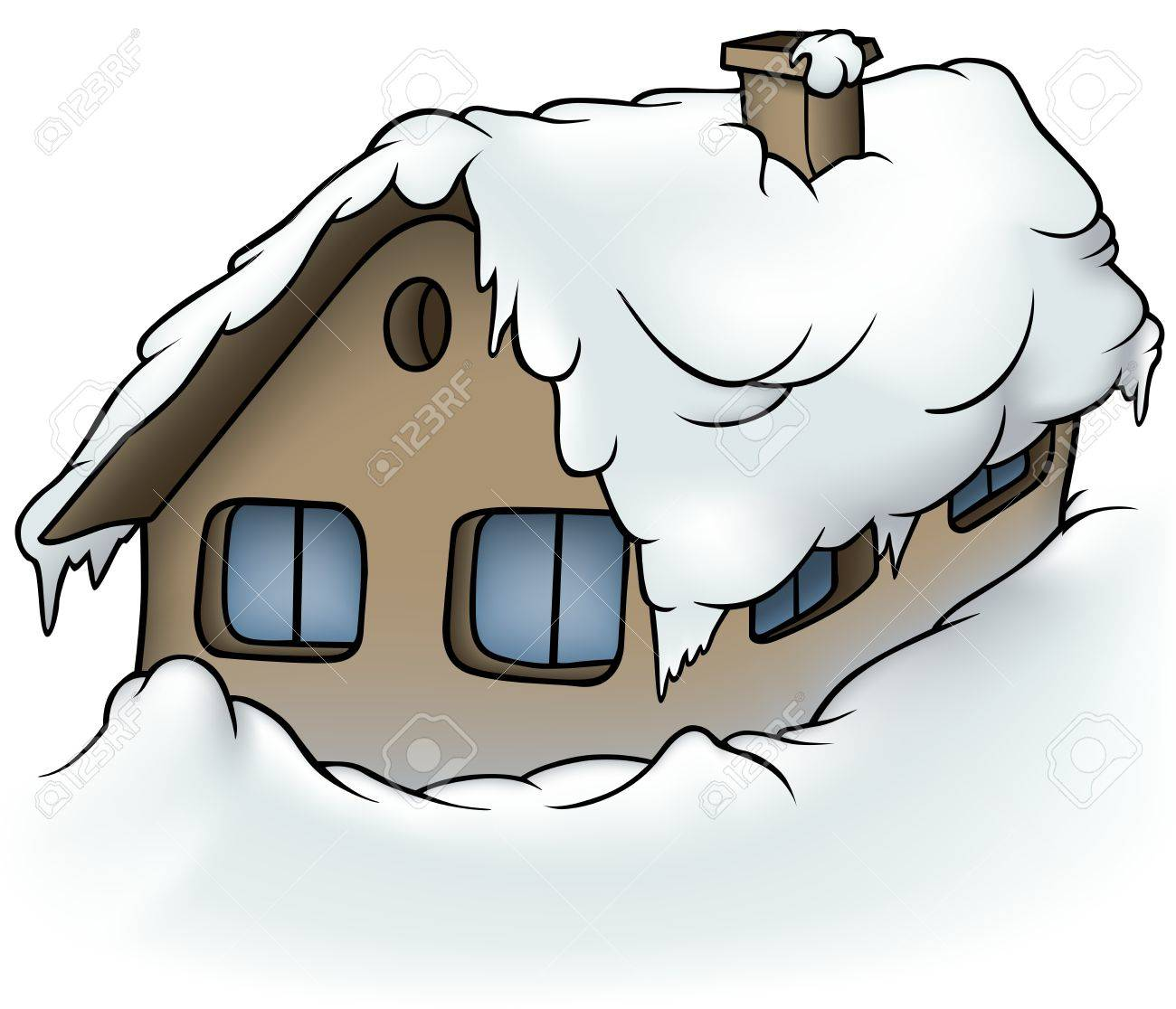 Snowy Cottage - Cartoon Illustration, Vector Royalty Free Cliparts ...