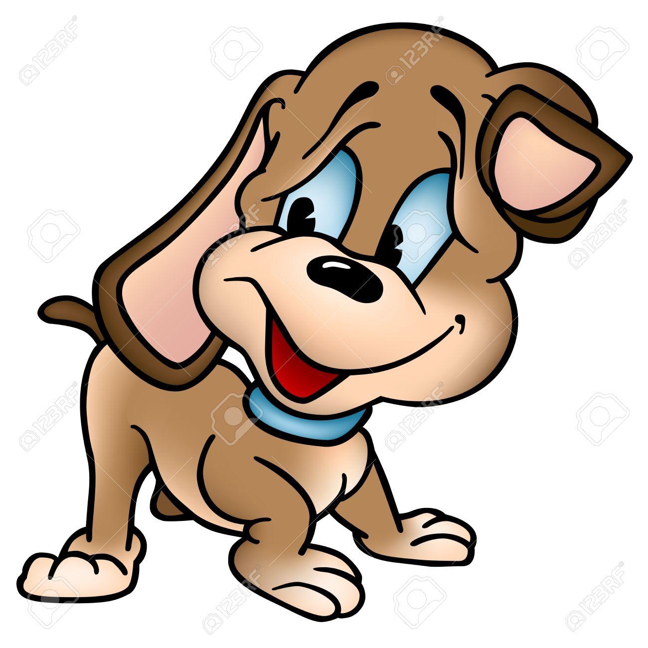 Cachorro De Perro - Ilustración De Dibujos Animados De Color ...