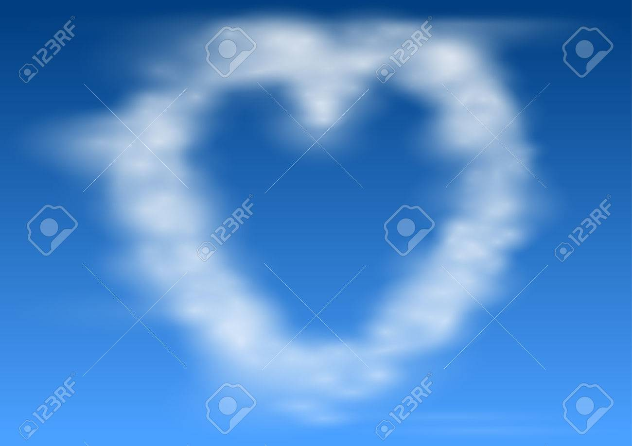 Heart Shaped Cloud In Blue Sky. Valentine And Wedding Background ...