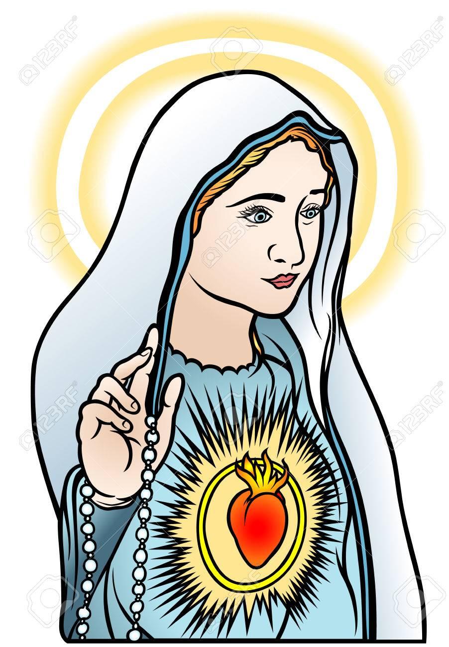 Virgen María Ilustración De Color Vector Ilustraciones