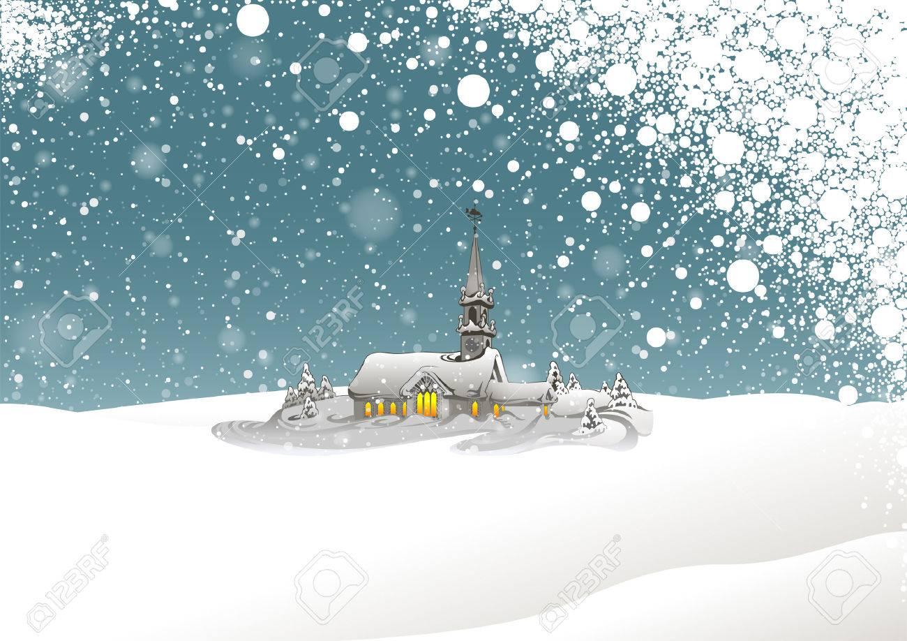 冬の風景と雪 - クリスマス イラスト、ベクトルの背景します