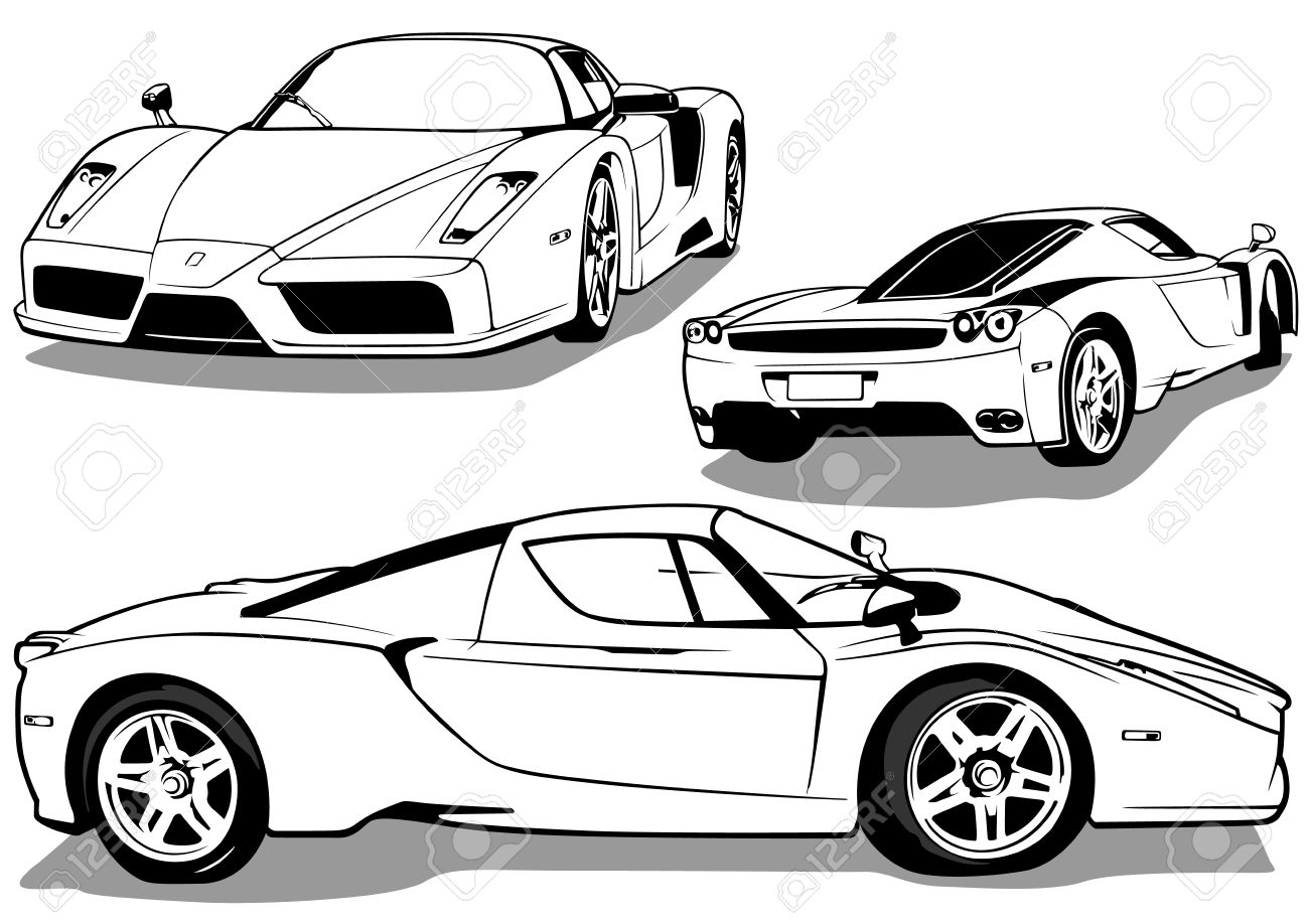 Sport Car From Views Black And White Outline Illustration