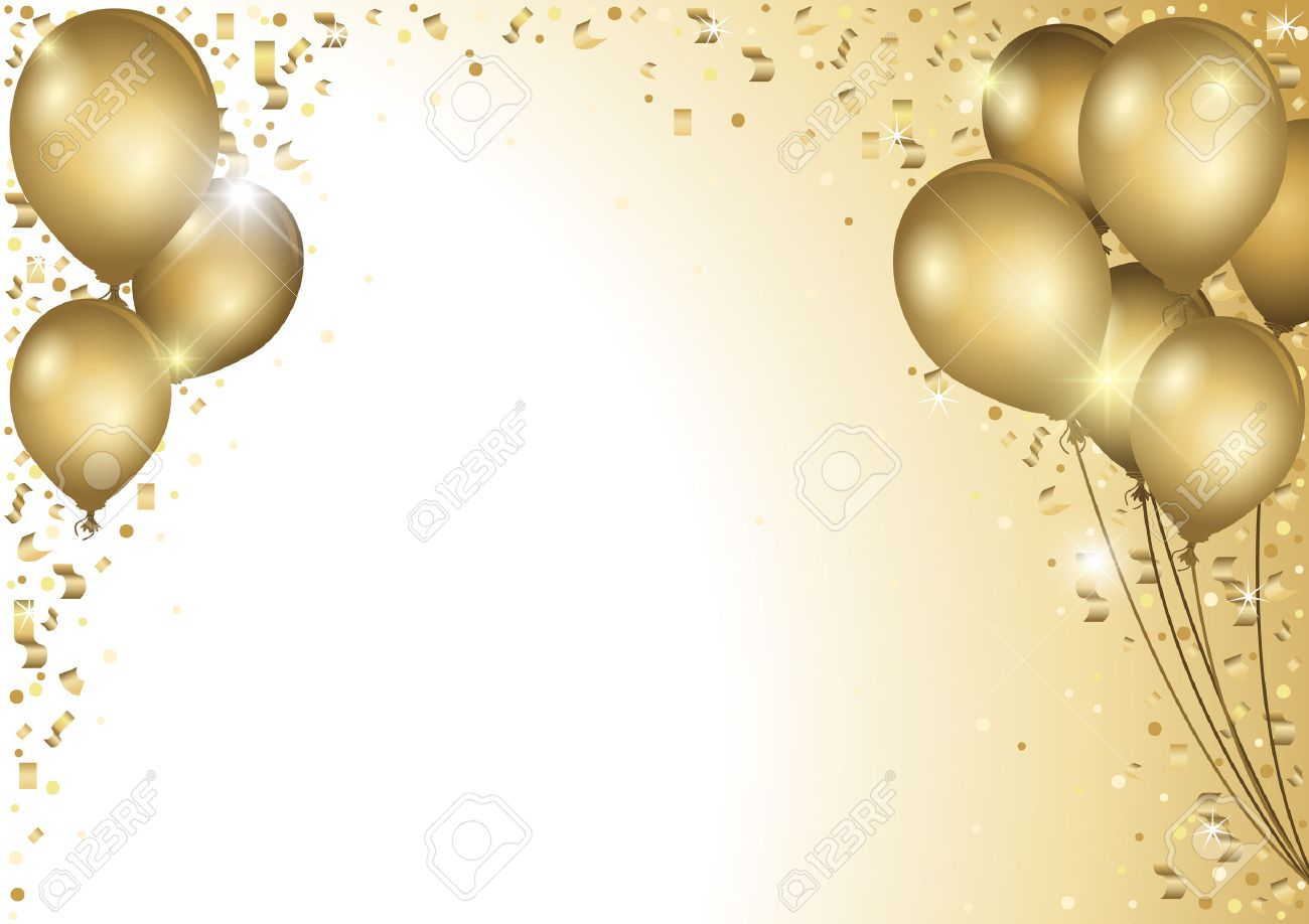 Holiday Background With Gold Balloons and Falling Confetti - Colored Illustration - 57809623