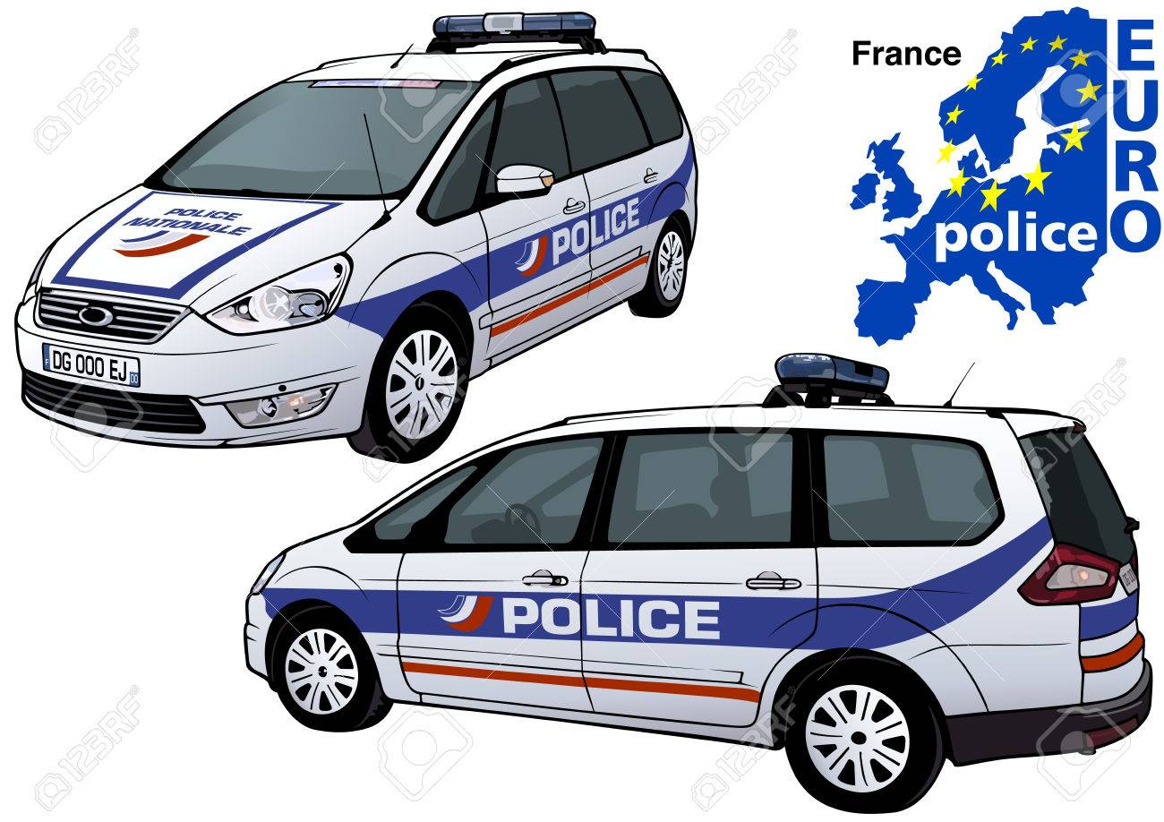 France Police Car Colored Illustration From Series Europol