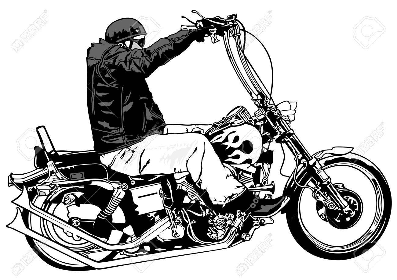 Reiter Auf Chopper Schwarz Weiß Hand Gezeichnet Illustration