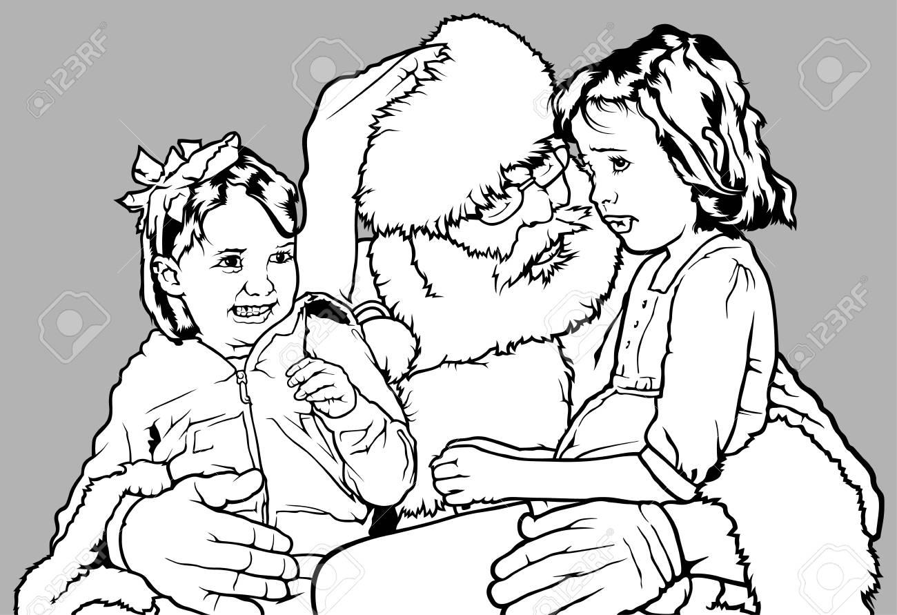 Père Noël Tenant Deux Petites Filles Sur Ses Genoux Noël Noir Et Blanc Illustration Vecteur