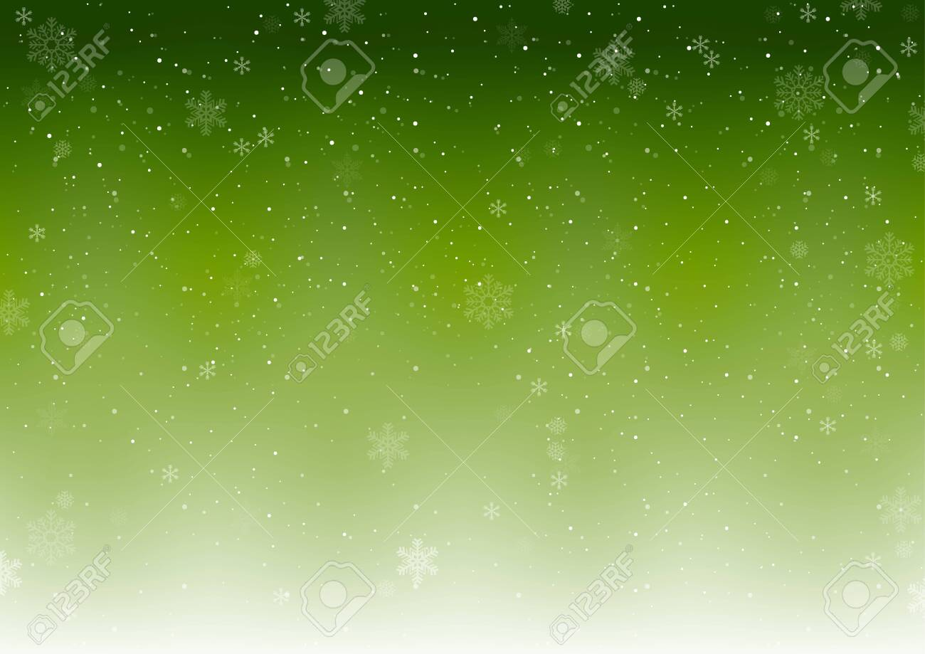 Green Xmas Winter Background with Falling Snowflakes - Abstract Snowfall Illustration, Vector - 131422745