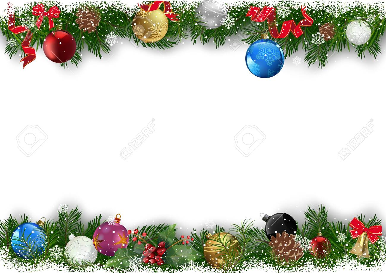 Christmas Background with Decorated Branches of Christmas Tree - Snowy Green Twigs with Colorful Christmas Balls on White Background, Vector Illustration - 136893863