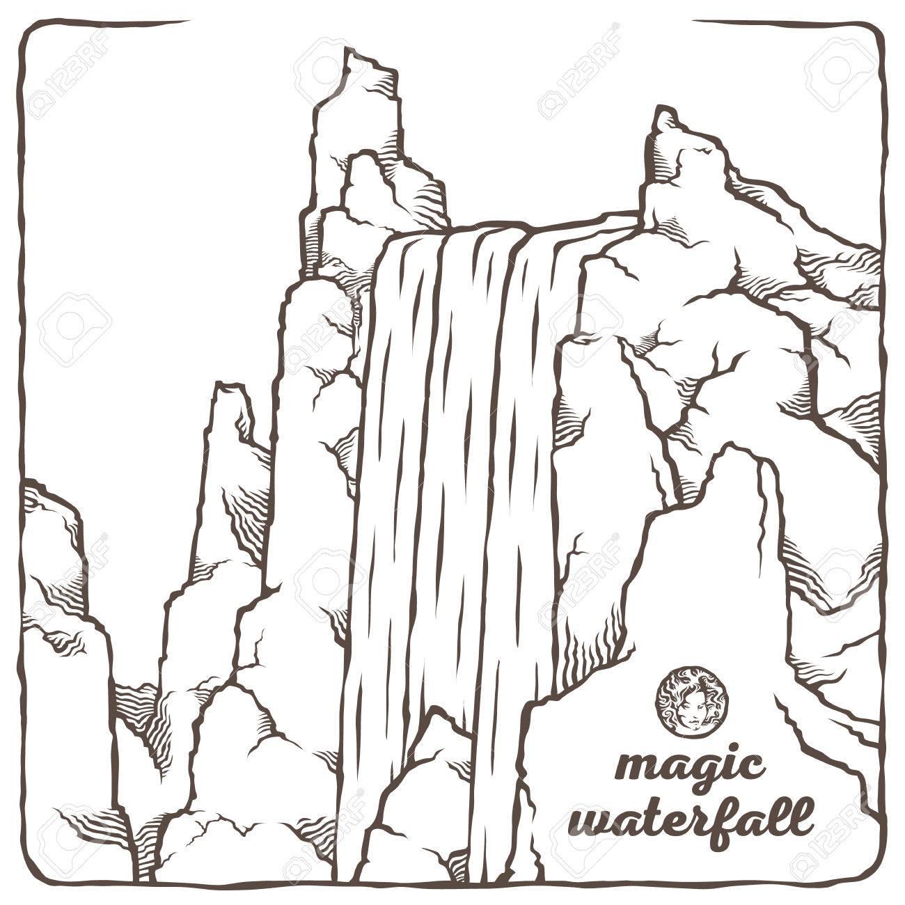 Image Du Contour De La Cascade Vector Isole Paysage De Montagne En Arriere Plan De La Nature Et Le Ciel L Eau Et Les Pierres La Beaute Magique De La Nature Clip Art Libres