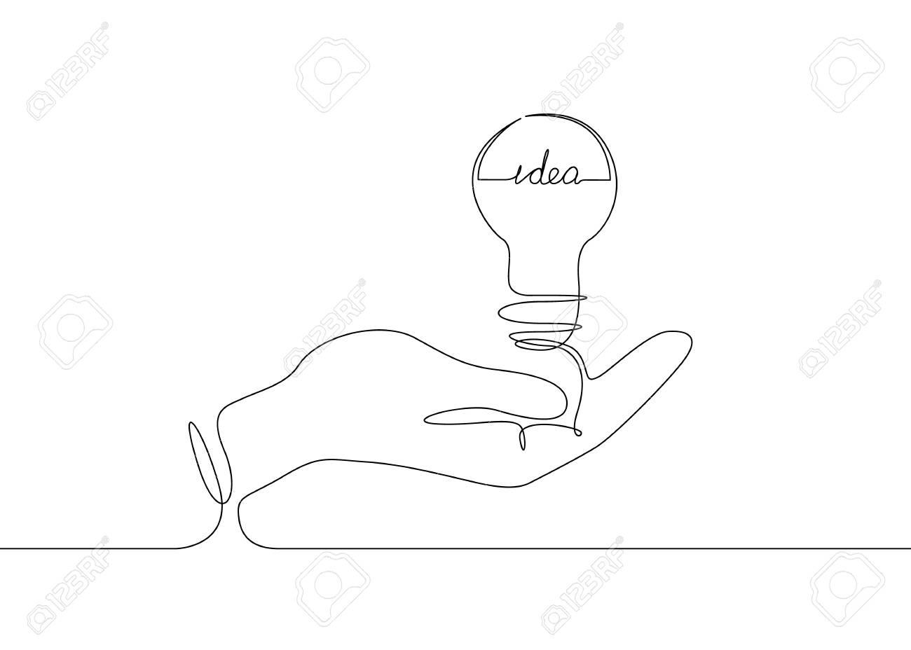 Continuous one line drawing light bulb symbol idea, the inscription idea. - 94537767