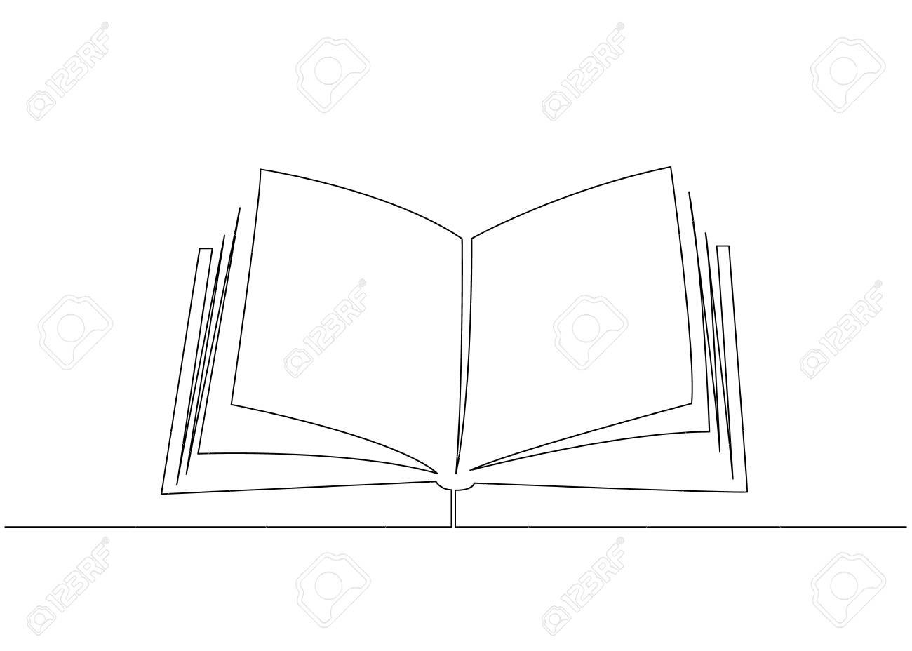 Livre Ouvert Avec Des Pages Isole Sur Blanc Dessin Anime Ligne Vecteur Illustration
