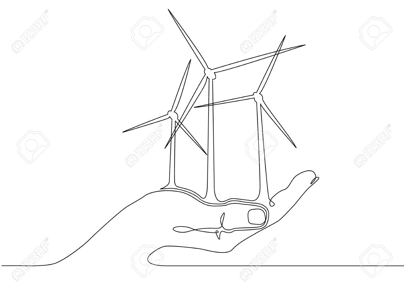 Continuous One Line Drawn Silhouette Of Wind Turbine Alternative