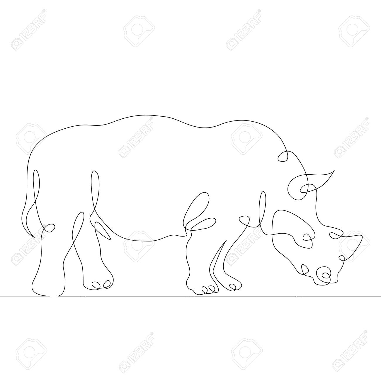 Continuous one line hand drawing rhinoceros rhino  Wild african