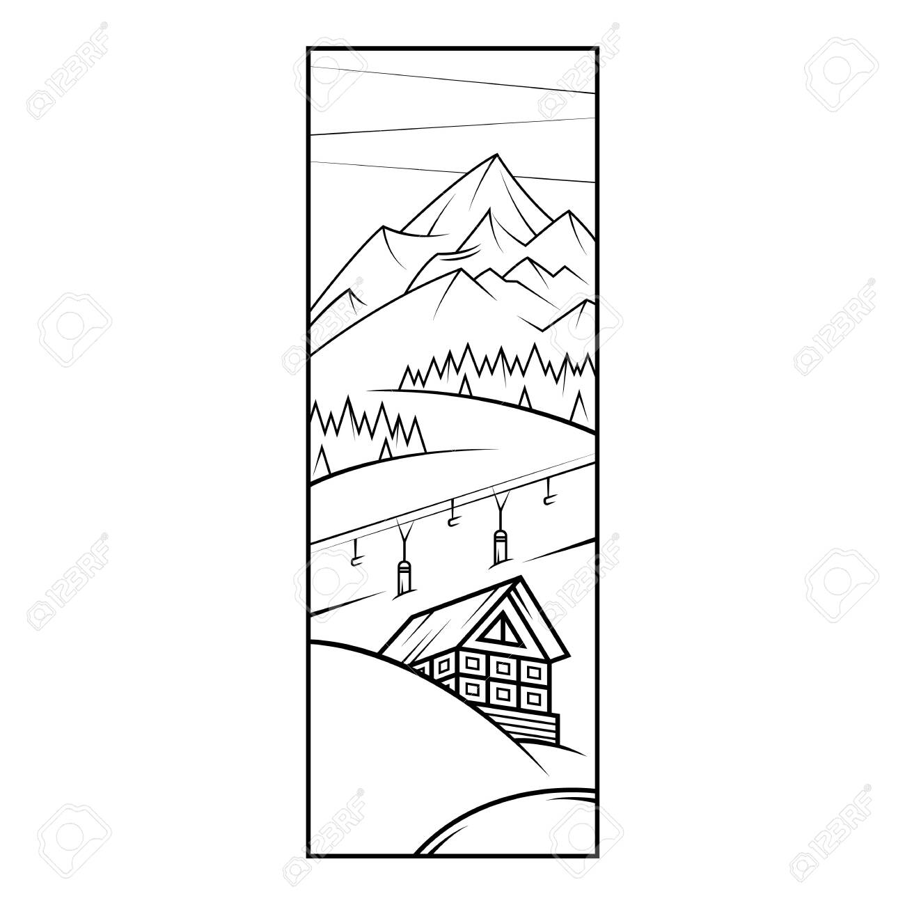 Ski Resort Chalet Mountains In The Snow Ski Lift Flat Minimal Royalty Free Cliparts Vectors And Stock Illustration Image 144843632