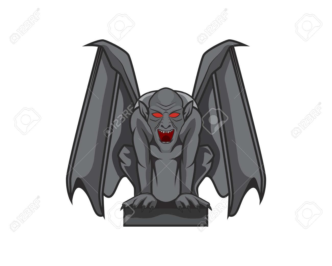 Detailed Gargoyle with Sitting Pose Illustration Vector - 155049258