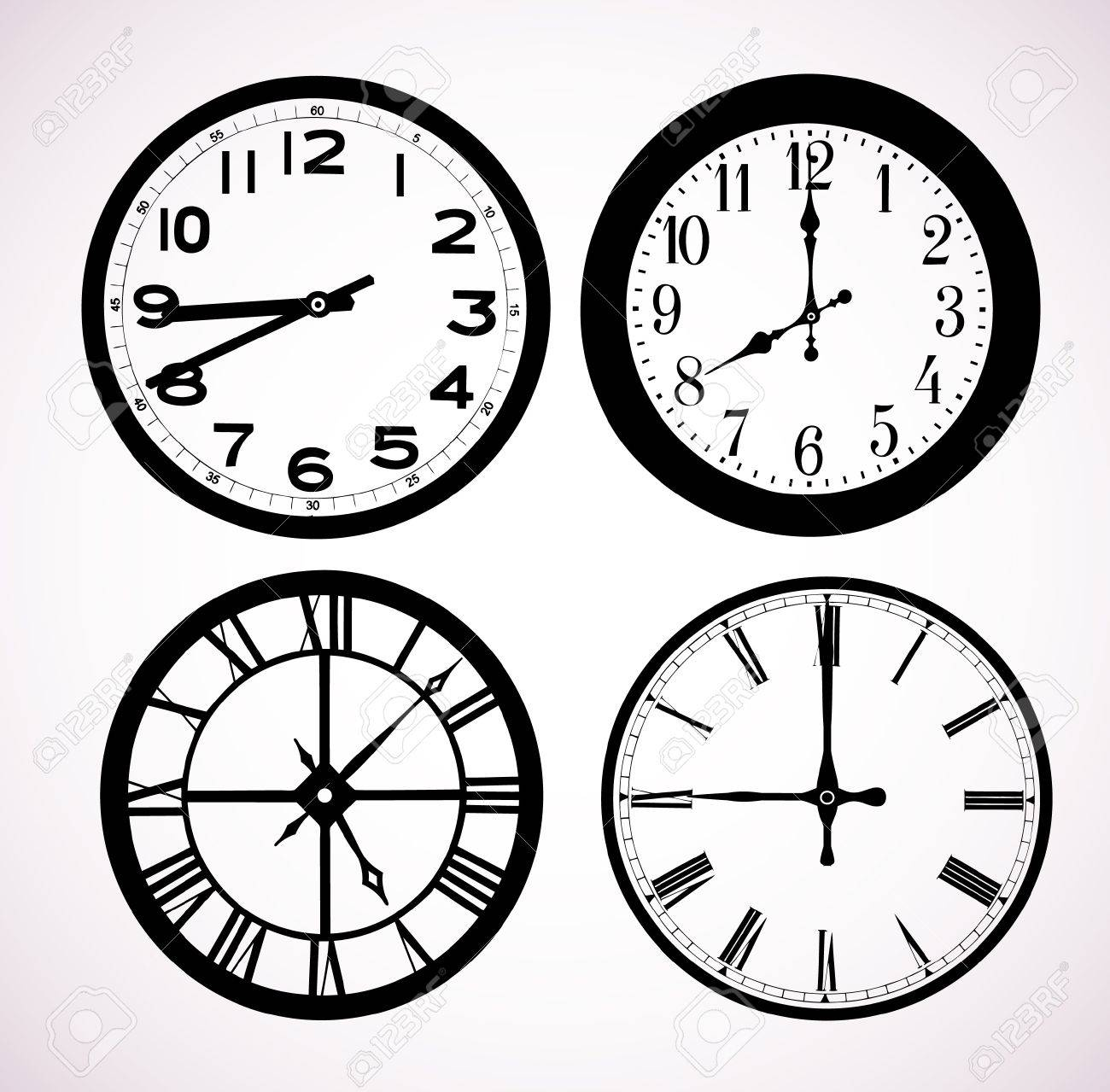 The pictures show a street clock dials Stock Vector - 15888040