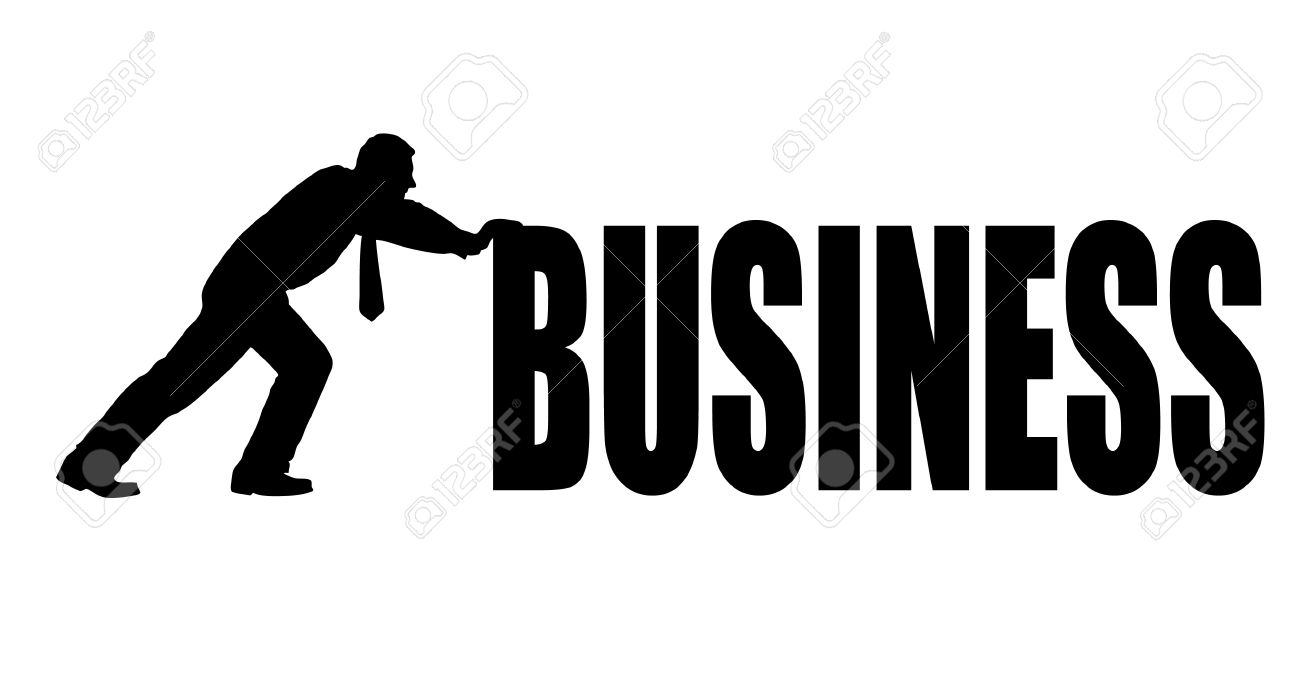 Businessman Pushing A Word Business Royalty Free Cliparts, Vectors