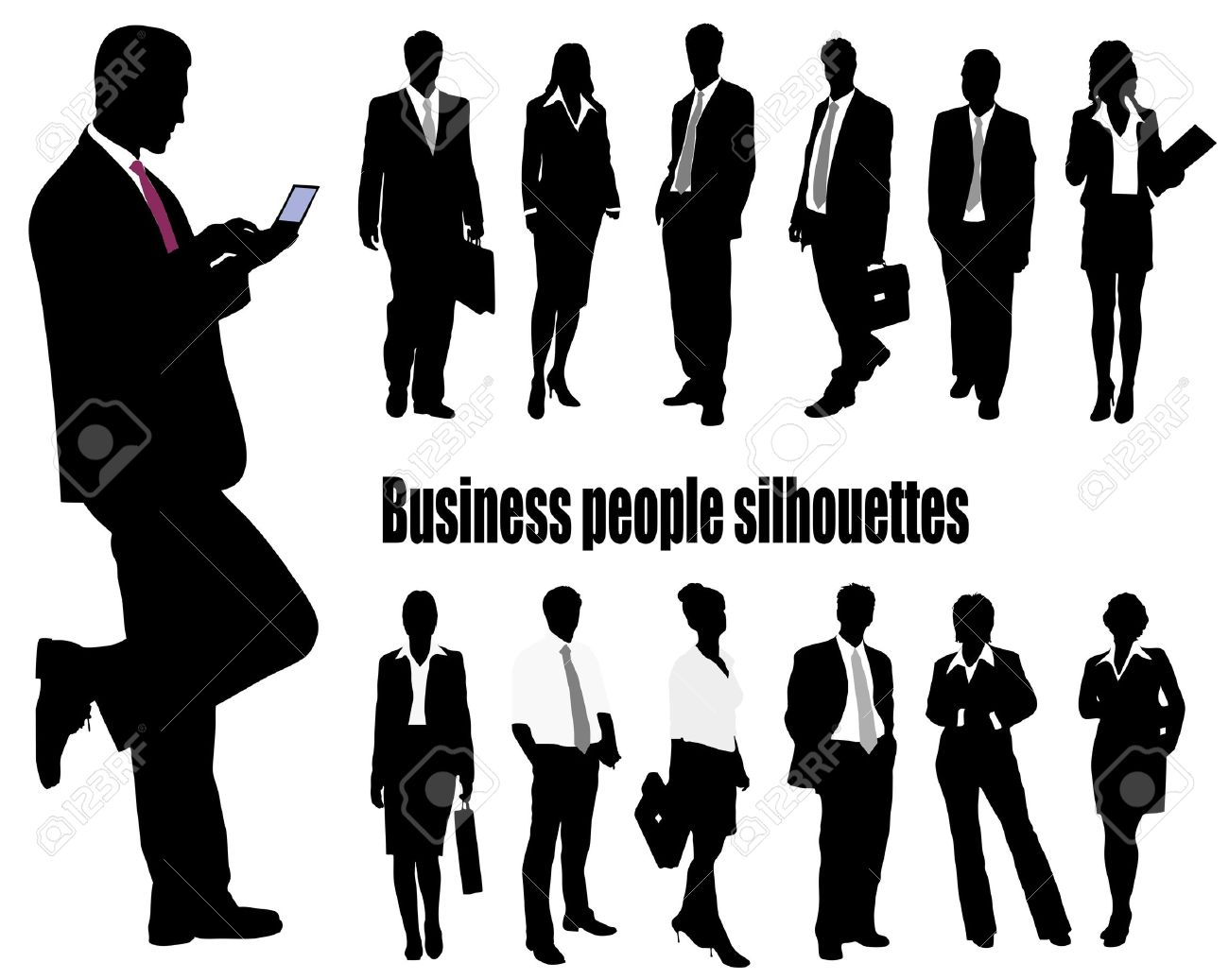 silhouettes of businessmen Stock Vector - 16103014
