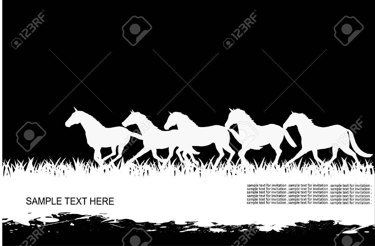running herd of horses Stock Vector - 16309305