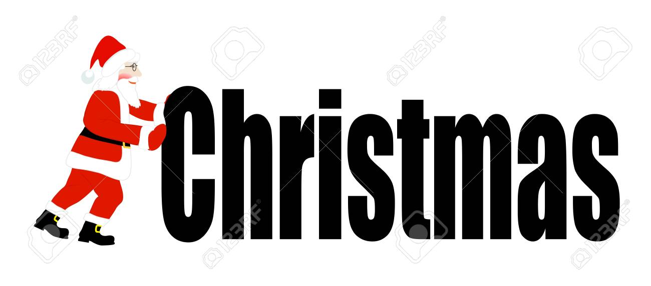 Santa Claus pushes a word Christmas Stock Vector - 16530955