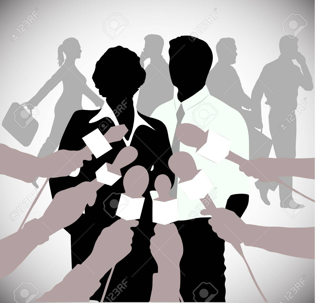 on the image the politician giving to interview is presented Stock Vector - 16930678