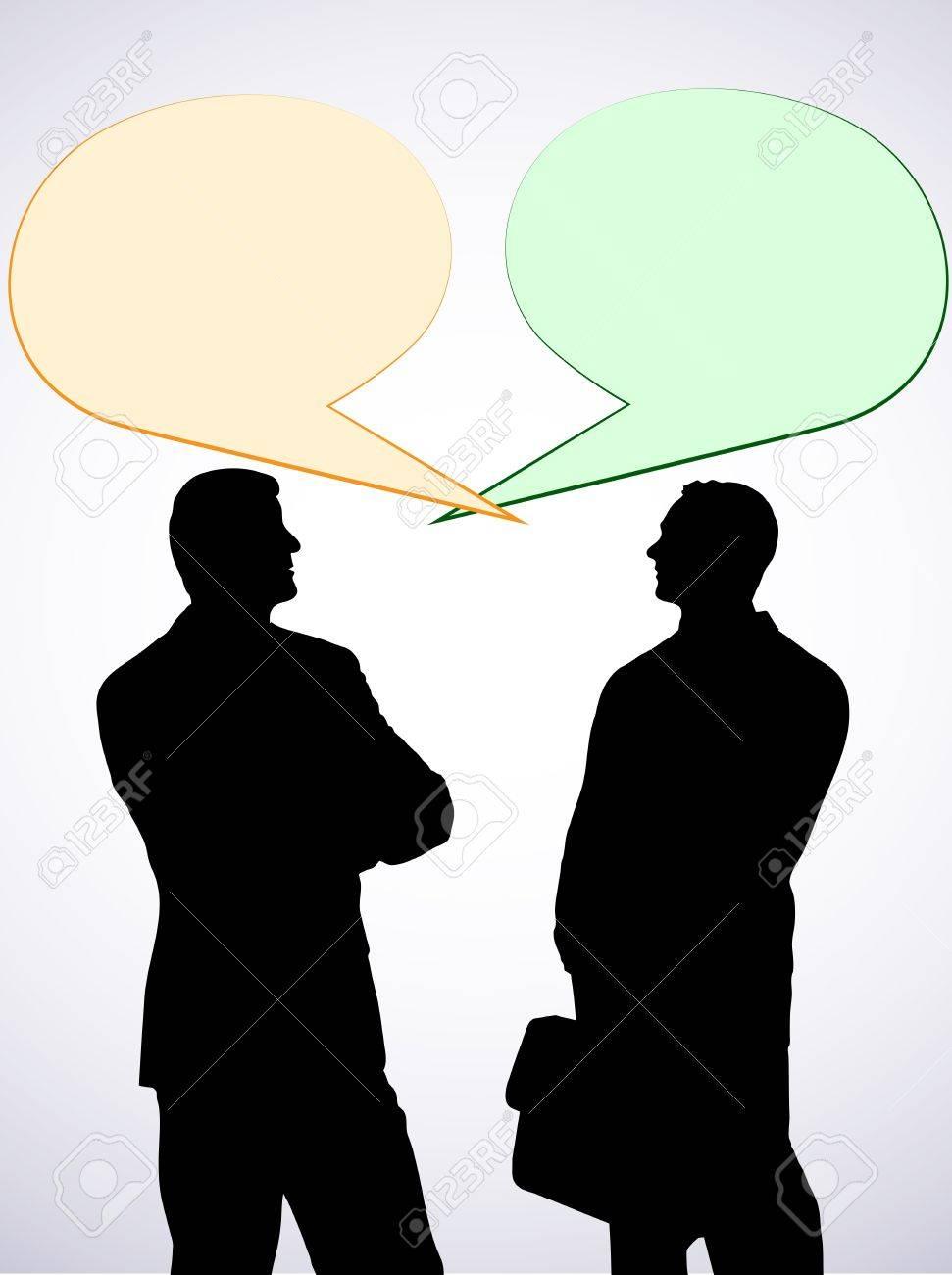En el diálogo de la imagen abstracta de dos personas que se presentaron  Foto de archivo